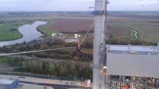 Zip-line at West Burton Power Station