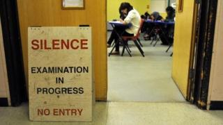 Exam in progress in school hall
