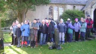 Walkers at St Cuthbert's in Over Kellet