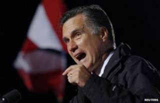 Mitt Romney speaks at a campaign rally in West Chester, Ohio, 2 November