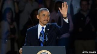 President Obama acknowledging the crowds at his victory speech in Chicago
