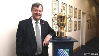RFU chief executive Ian Ritchie with the Rugby World Cup trophy, currently held by New Zealand