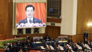 Hu Jintao is displayed on a screen during the opening session of the 18th Communist Party Congress held at the Great Hall of the People in Beijing, 08 Nov 2012