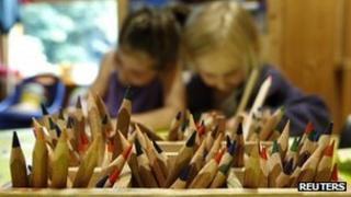 Young children drawing