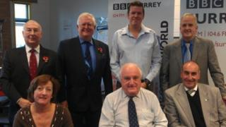 (Left to right from top) Kevin Hurley, Nick O'Shea, BBC Surrey presenter Mark Carter and Robert Evans, with Julie Iles, Peter Williams and Robert Shatwell