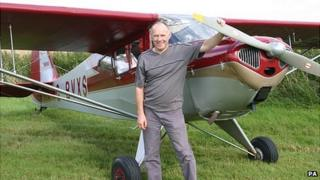 Martin Hickin with his aircraft