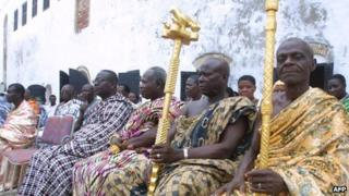 Local chiefs at Elmina Castle in Ghana (archive shot)
