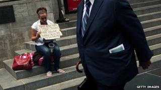 Woman begging in NY