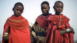 Young women from Kenya's Samburu ethnic group which has the tradition of bride prices to seal marriages