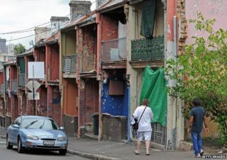 Derelict houses used to accommodate impoverished Aborigines and drug addicts in Sydney