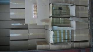 Illegal cigarettes boxed in a shipping container