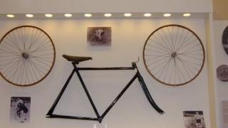 Bike in display case
