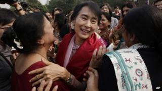 Aung San Suu Kyi at Lady Shri Ram College in Delhi on Friday 16 Nov 2012