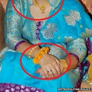 The stolen jewellery being worn