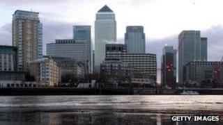 Skyline of Canary Wharf financial centre