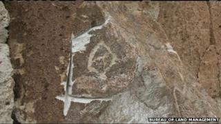Damaged petroglyph in California