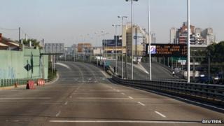 Empty motorway in Buenos Aires