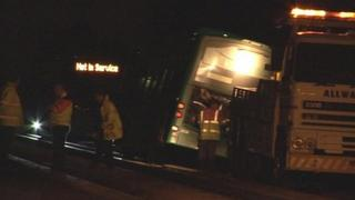 Guided bus off its tracks in Cambridgeshire