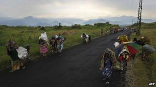 DR Congo people flee from Sake on a road linking Goma and Bukavu on 23 November.