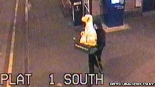 British Transport Police CCTV image of dog collection box being stolen