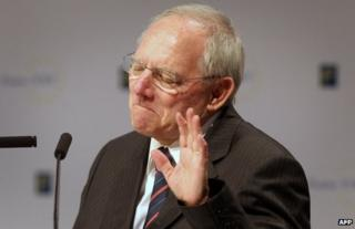 German Finance Minister Wolfgang Schaeuble at a conference in Frankfurt, 23 November