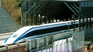 A maglev train in Japan