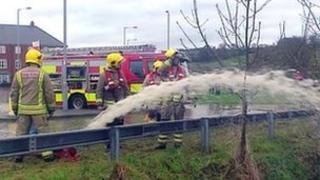 Fire crews pumped water away from homes in Ruthin