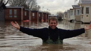 Nic Allen in floodwater at Stratford-upon-Avon Riverside Caravan Park