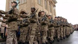 Soldiers from 4 Logistic Support Regiment parade through Abingdon