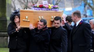 Pallbearers at Bill Tarmey's funeral