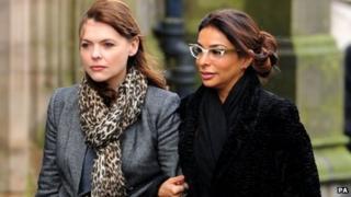 Kate Ford and Shobna Gulati at Bill Tarmey's funeral