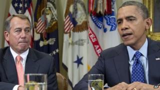 President Barack Obama (right) and House Speaker John Boehner at the White House on 16 November 2012