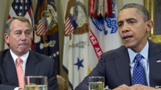 Republican Speaker of the House John Boehner (left) and President Barack Obama at the White House 16 November 2012
