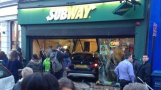 Car crashes through Subway shop window in Aberdare