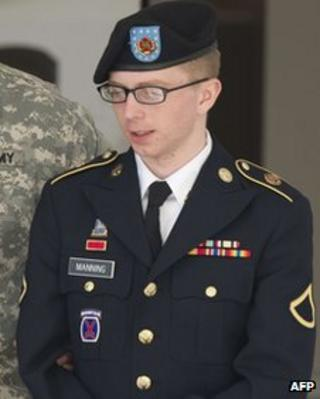 Bradley Manning leaves court in Fort Meade, Maryland on 29 November 2012
