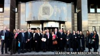 Lawyers outside glasgow Sheriff court during Tuesday's boycott