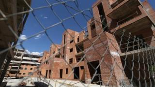 Unfinished commuter development in Madrid