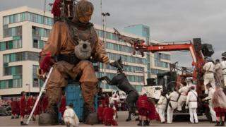 A giant diver as featured in the Sea Odyssey show in Liverpool