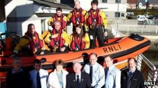 Sunderland RNLI volunteers with Mr & Mrs Walker