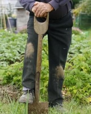 A man gardening