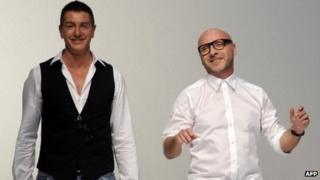 Italian fashion designers Domenico Dolce (r) and Stefano Gabbana in a 2011 file image