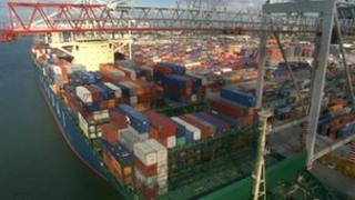 Container vessel in Southampton
