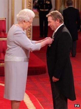 Queen awarding OBE to Nick Skelton