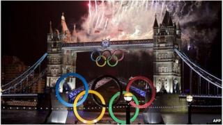 London Bridge and the Olympic rings