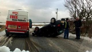 Crash near Strichen, Aberdeenshire