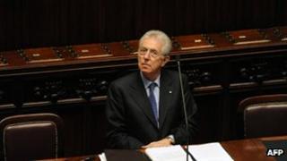 File photo of Prime Minister Mario Monti in parliament, Rome, 2011