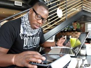 Man using gadgets