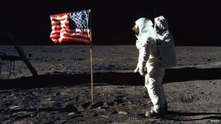 Buzz Aldrin on the surface of the Moon in 1969