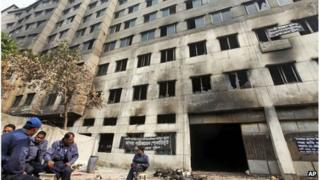 The damaged Tazreen garment factory on the outskirts of Dhaka