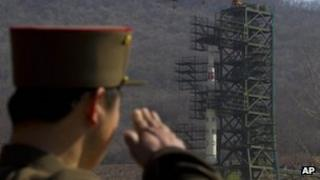 File image from 8 April 2012 of North Korean soldier at the launch site before a previous launch